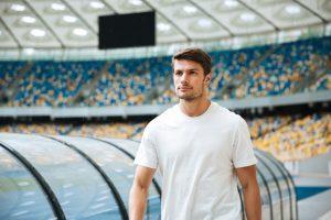 Confident introvert sportsman